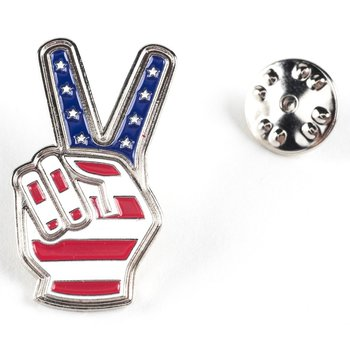 Patriotic PEACE FINGERS LAPEL TAC PIN
