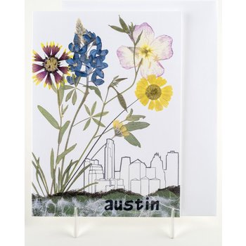 "Texas Traditions ""AUSTIN"" SKYLINE with WILDFLOWERS GREETING CARD"