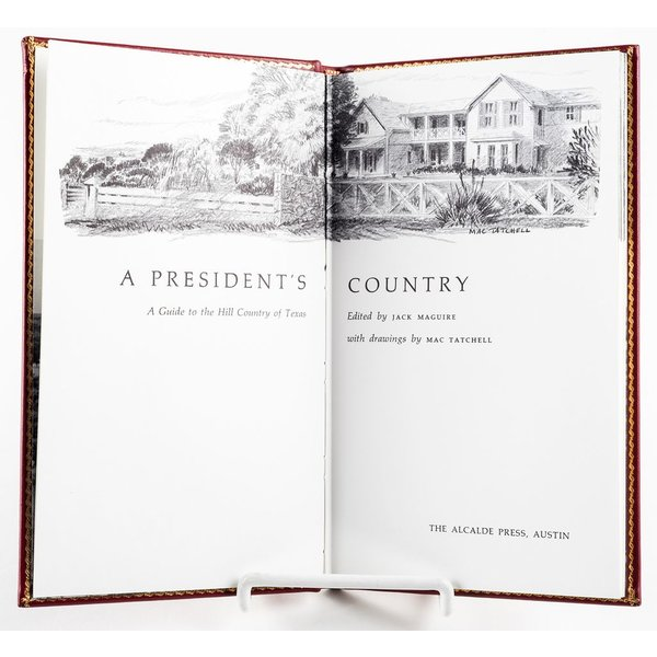 "All the way with LBJ ORIGINAL ""A PRESIDENT'S COUNTRY"" LEATHER BOOK"