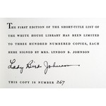 "Lady Bird AUTOGRAPHED, LIMTED EDITION ""THE WHITE HOUSE LIBRARY: A SHORT TITLE LIST"""