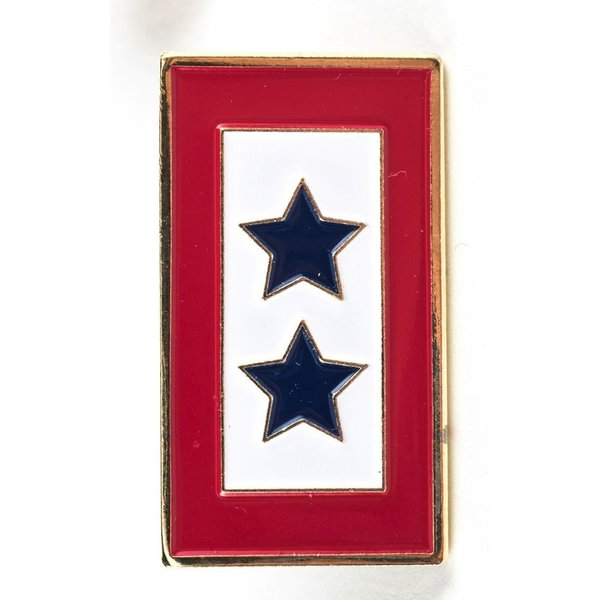 Patriotic DOUBLE BLUE STAR SERVICE FLAG LAPEL TAC PIN