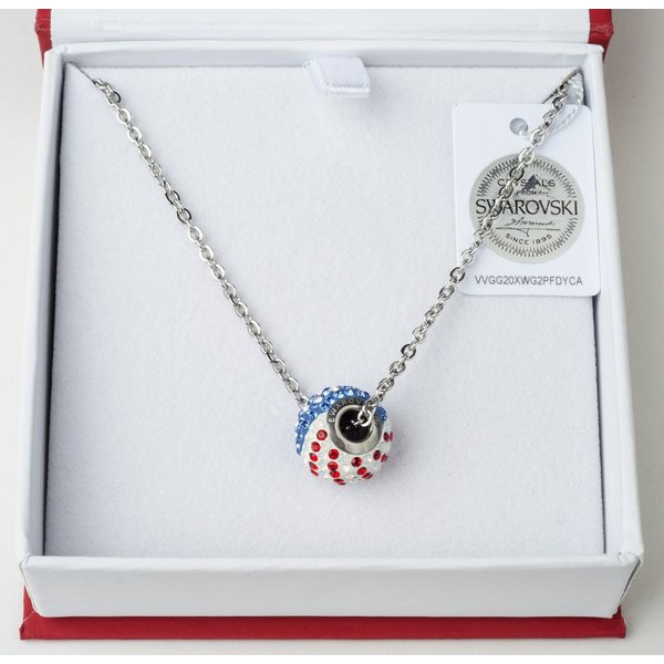 "Patriotic SWAROVSKI RWB 18"" NECKLACE"