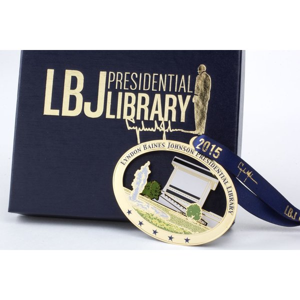 Holiday LBJ LIBRARY BRASS ORNAMENT