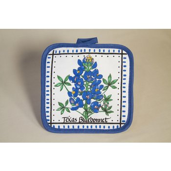 """Texas Traditions White cotton pot holder with blue trim and bluebonnet that reads """"Texas Bluebonnet."""""""