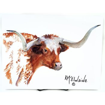 Texas Traditions LONGHORN PORTRAIT 12X16 KATHLEEN McELWAINE PRINT