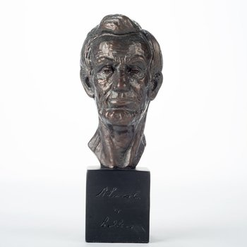 "Patriotic ABRAHAM LINCOLN 7.5"" BRONZE BUST"