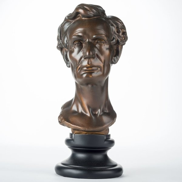 """Patriotic sale-YOUNG LINCOLN 13"""" BRONZE BUST"""