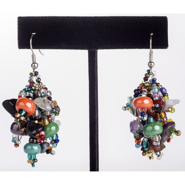 MULTICOLORED FUZZY EARRINGS