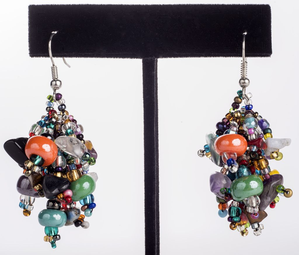 diamond multi details gems earrings with wire size by wrapping dangled studs and lanae flower multicolored