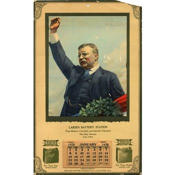ORIGINAL 1928 TEDDY ROOSEVELT CALENDAR - FAIR CONDITION