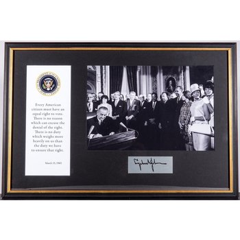 Civil Rights VOTING RIGHTS SIGNING FRAMED MONTAGE