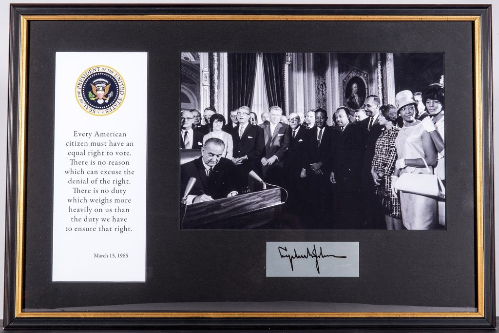 Civil Rights VOTING RIGHTS SIGNING FRAMED MONTAGE - The Store at LBJ