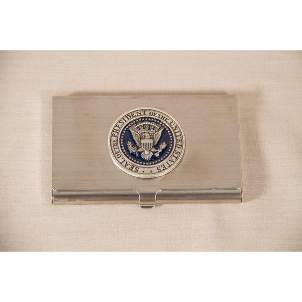 Patriotic PEWTER DETAIL PRESIDENTIAL SEAL BUSINESS CARD HOLDER