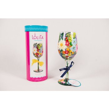 Lady Bird WILDFLOWERS PAINTED WINE GLASS BOXED