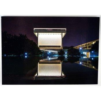 LBJ LIBRARY REFLECTED AT NIGHT POSTCARD