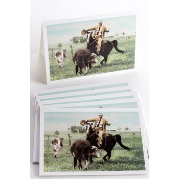 LBJ CATTLE ROPING NOTECARDS  SET of 6