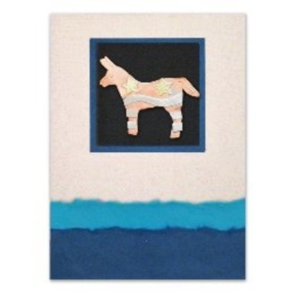 FAIR TRADE DONKEY PIN ON MAILABLE CARD