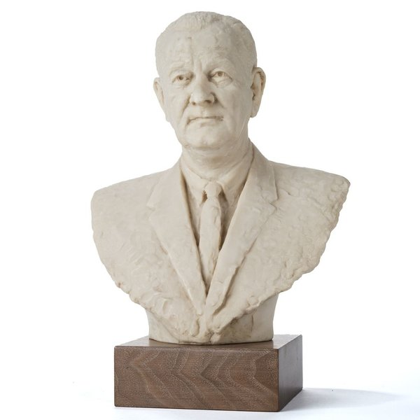 """All the way with LBJ 12.5"""" MARBLE LBJ BUST LARGE"""