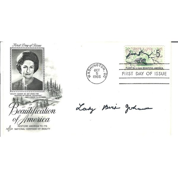 COLLECTIBLE LADY BIRD FIRST DAY OF ISSUE: BEAUTIFICATION OF AMERICA ca. 1966