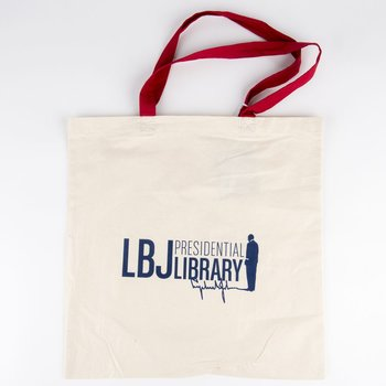 LBJ LIBRARY RED HANDLE TOTE BAG