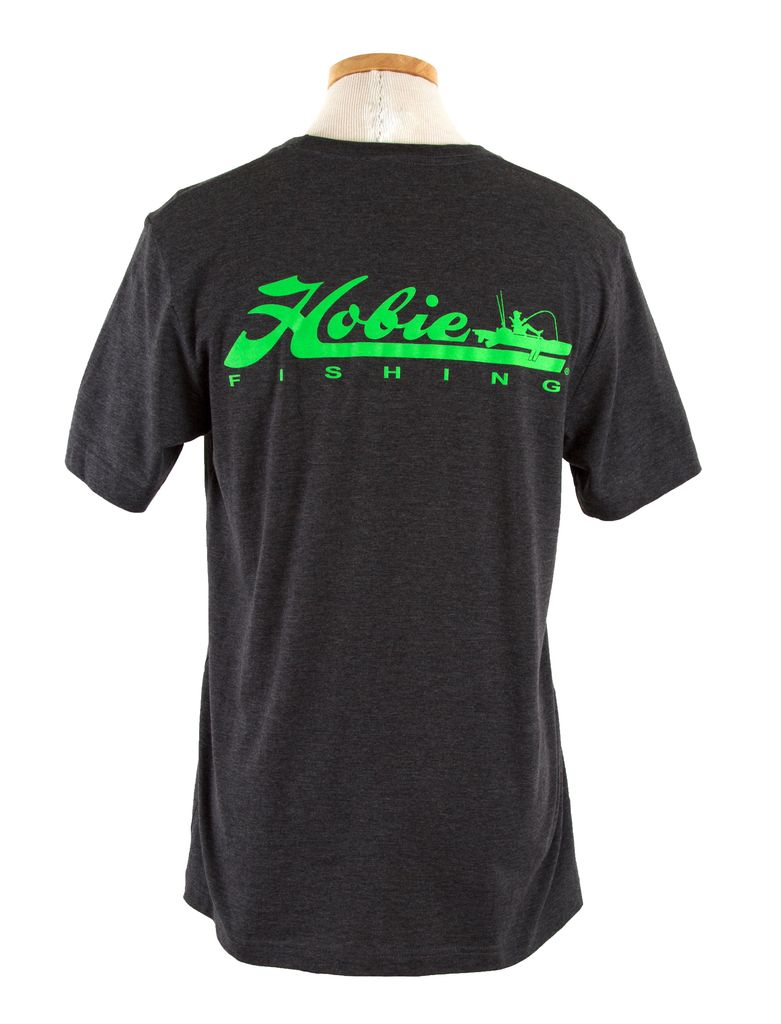Hobie Hobie Charcoal T-Shirt, Short Sleeve, Hobie Fishing Logo in Lime