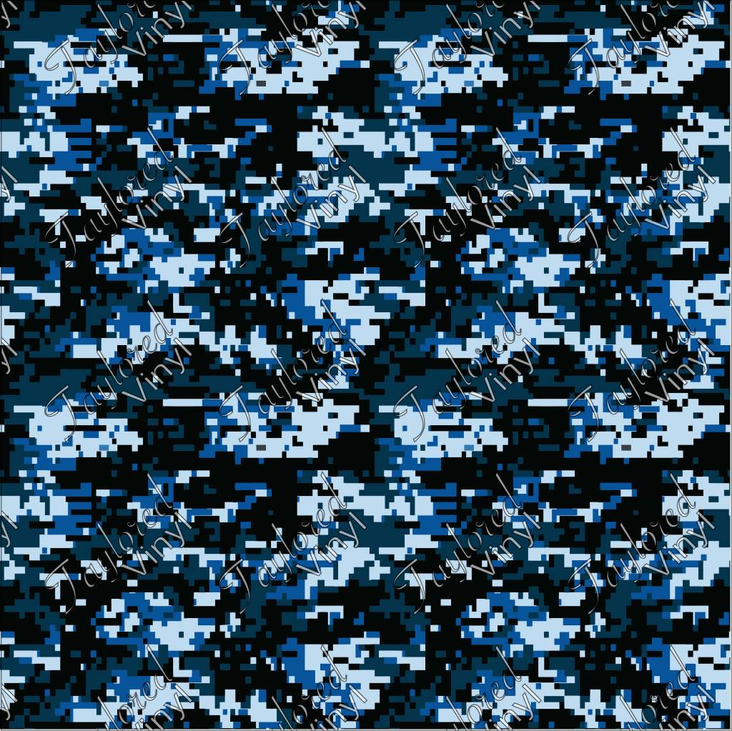 Siser Camo Digital Navy Blue Printed Htv Taylored Vinyl