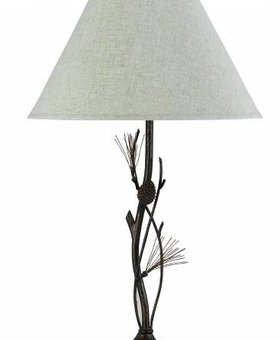LIGHTING PINE TWIG WROUGHT IRON TABLE LAMP 150W 3 WAY