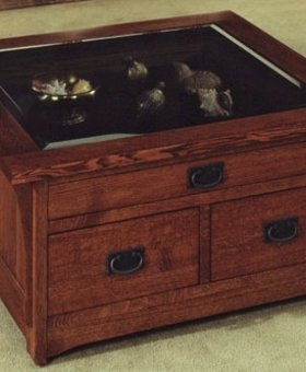 ENTERTAINMENT SQUARE CURIO COFFEE TABLE MISSION CHERRY