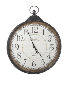 ACCESSORIES EXTRA LARGE DISTRESSED BLACK POCKET WATCH WALL CLOCK