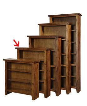 "BOOKCASE <h2>48"" KNOTTY ALDER BOOKCASE FRUITWOOD FINISH</h2>"