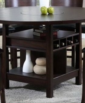 TABLE <h2>COUNTER HEIGHT TABLE WITH LAZY SUSAN AND ESPRESSO FINISH</h2>