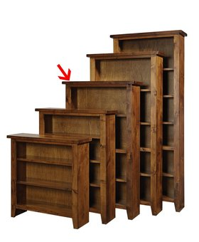 "BOOKCASE <h2>60"" KNOTTY ALDER BOOKCASE FRUITWOOD FINISH</h2>"