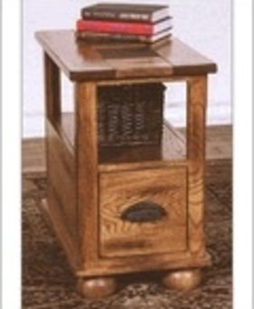 ENTERTAINMENT THIS ONE ONLY! SEDONA CHAIRSIDE TABLE WITH DRAWER - SMALL SCREW HOLES VISABLE