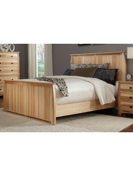 BEDROOM ADAMSTOWN QUEEN PANEL BED SOLID HICKORY WITH WALNUT INLAYS
