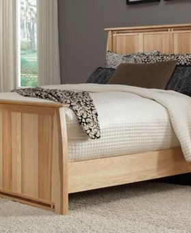 BEDROOM ADAMSTOWN KING PANEL BED SOLID HICKORY WITH WALNUT INLAYS
