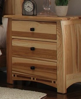 BEDROOM ADAMSTOWN 3 DRAWER NIGHTSTAND SOLID HICKORY WITH WALNUT INLAYS