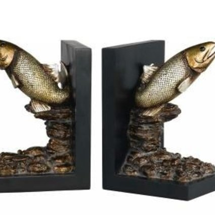 ACCESSORIES TROUT BOOKENDS AGED BRONZE