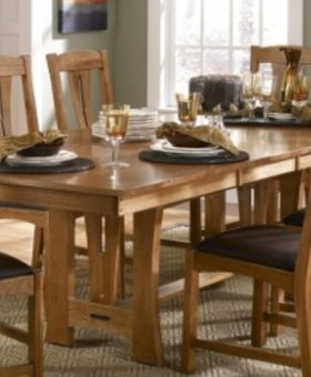 DINING CATTAIL BUNGALOW TRESTLE TABLE AMBER FINISH SOLID HICKORY WITH LEATHER SEAT