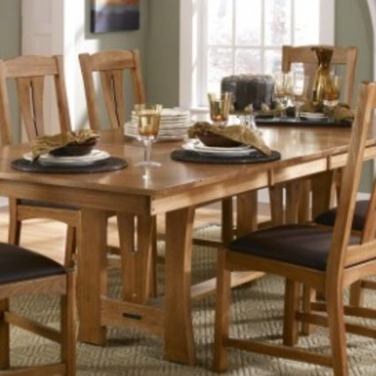 DINING CATTAIL BUNGALOW TRESTLE TABLE AMBER FINISH SOLID HICKORY