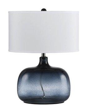 LIGHTING 150W 3 WAY CHRISTI BLUE GLASS TABLE LAMP