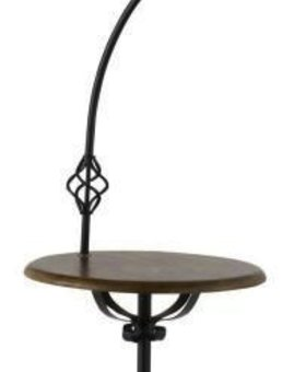 LIGHTING WROUGHT IRON FLOOR LAMP WITH WOOD TRAY <br /> 150W 3 WAY