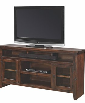 "ENTERTAINMENT <h2>65"" KNOTTY ALDER CONSOLE TOBACCO FINISH</h2>"