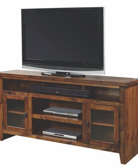 "ENTERTAINMENT <h2>65"" KNOTTY ALDER CONSOLE FRUITWOOD FINISH</h2>"