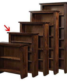 "BOOKCASE <h2>48"" KNOTTY ALDER BOOKCASE TOBACCO FINISH</h2>"