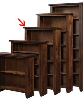 "BOOKCASE <h2>60"" KNOTTY ALDER BOOKCASE TOBACCO FINISH</h2>"