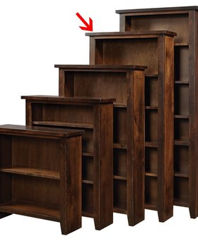 "BOOKCASE <h2>72"" KNOTTY ALDER BOOKCASE TOBACCO FINISH</h2>"