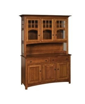 DINING AMISH CLASSIC BUFFET & HUTCH TOP SOLID BROWN MAPLE