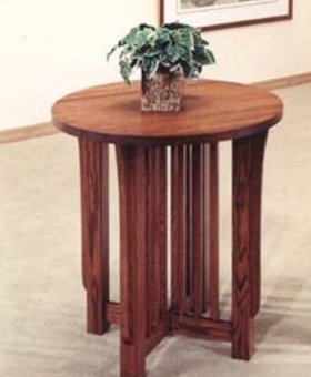 OCCASIONAL TABLE MISSION CHERRY ROUND END TABLE