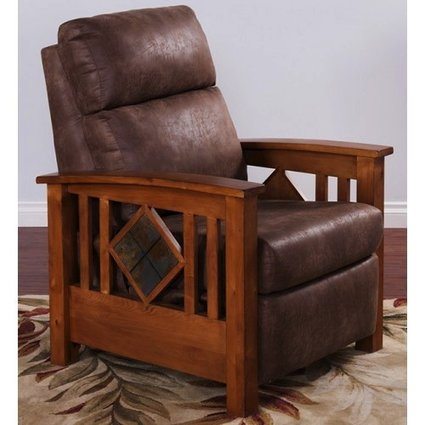 UPHOLSTERED RUSTIC BIRCH RECLINER WITH SLATE