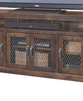 """ENTERTAINMENT 84"""" INDUSTRIAL TV CONSOLE  FRUITWOOD FINISH"""